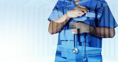 double exposure of smart medical doctor working with operating room as concep - stock illustration
