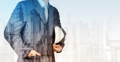Double exposure of business engineer and abstract city Stock Illustration