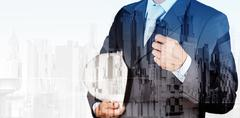 double exposure of business engineer and abstract city as concept - stock illustration