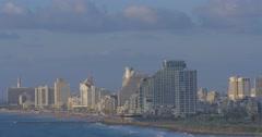 Tel Aviv - Israel - Beachfront View - 24P - Cinematic DCI 4K - Flat Stock Footage