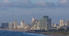 Tel Aviv - Israel - Beachfront View - 24P - Cinematic DCI 4K Stock Footage