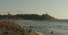Tel Aviv - Israel - Beach - 24P - Cinematic DCI 4K Stock Footage