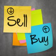 """sell buy"" text on sticky note paper on wall texture as concept Stock Illustration"