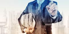 Double exposure of business engineer and abstract city as concept Stock Illustration