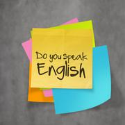 """do you speak english"" text on sticky note paper on wall texture - stock illustration"