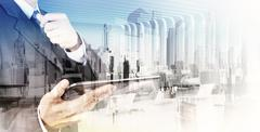 Double exposure of  businessman shows modern technology as concept Stock Illustration