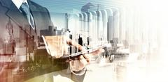 double exposure of  businessman shows modern technology as concept - stock illustration