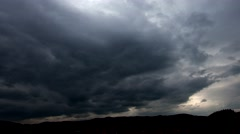 Background of storm clouds before a thunder-storm in the mountains landscape. - stock footage
