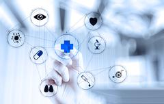 Medicine doctor hand working with modern computer interface Stock Illustration
