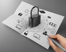 hand drawing cloud network diagram with padlock on crumpled paper as internet - stock illustration