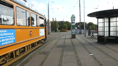 On the tram station Stock Footage