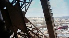 Eiffel tower Lift going up, Paris - 1080p Stock Footage