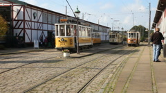 Electric cable car pulled along a fixed track Stock Footage
