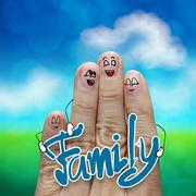 Finger family travels at the beach and family word as concept Stock Illustration