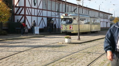 A nice tourist attraction in Denmark where you can see vintage trams Stock Footage