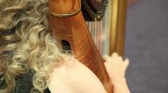 Woman playing harp - stock footage