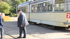 Shifting the tracks for the tram Stock Footage