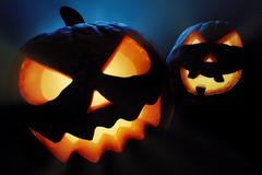 halloween pumpkins closeup -  jack o'lantern - stock illustration