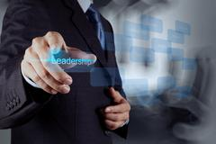 businessman pointing to leadership skill concept on virtual screen as concept - stock illustration