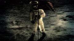 Astronaut waving flag on the surface of the moon. Arkistovideo
