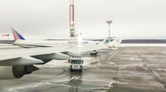 Moscow, russia, de-icing a plane Stock Footage