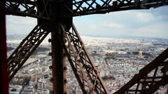 Eiffel Tower Lift going down, Paris  - 1080p Stock Footage