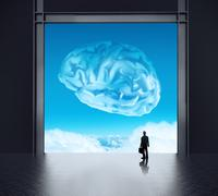 silhoette businessman looking to brain as cloud icon concept - stock illustration