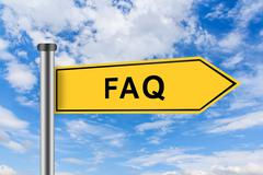 Yellow road sign with faq or frequently asked question words Stock Photos