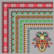collection of ornamental floral vintage frame design. All compon - stock illustration