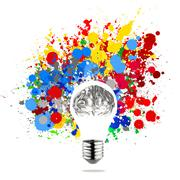Creativity 3d metal human brain in visible light bulb with splash colors back Stock Illustration