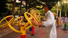 Chinese elderly people in the exercise Stock Footage