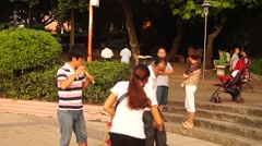 People park plaza leisure, in China Stock Footage