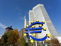 European central bank building at frankfurt Stock Photos