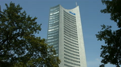Panorama tower in Leipzig called Backenzahn Stock Footage