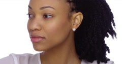 Attractive African woman looking at camera Stock Footage