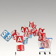 businessman looking at 3d shopping cart sale cubic as concept - stock illustration