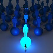 Stock Illustration of businessman standing at 3d light growing human social network and leadership