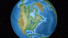 North America. Physical world globe. North America outlined on black. 4K. - stock footage