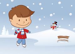 winter skating boy - stock illustration