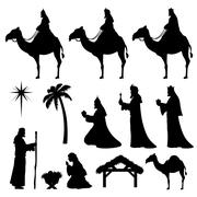Christmas nativity icons-wise men Stock Illustration