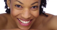Sweet African woman showing off her pearly whites Stock Footage