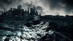 Loopable: Stormy seaside of a city Stock Footage
