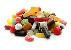 jelly beans, wine gums and liquorice candy - stock photo