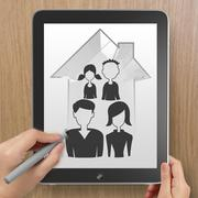 Hand drawing 3d house wtih family icon on tablet computer as insurance concep Stock Illustration