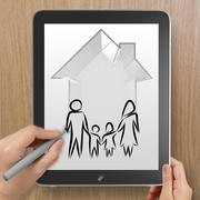 hand drawing 3d house wtih family icon on tablet computer as insurance concep - stock illustration