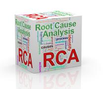 3d rca root cause analysis wordcloud cube - stock illustration