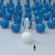 Stock Illustration of businessman walking 3d white  human social network and leadership as concept