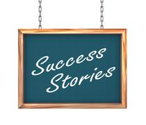 3d hanging banner - success stories - stock illustration