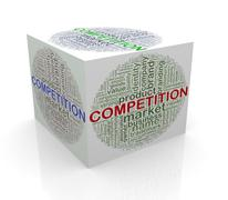 3d cube word tags wordcloud of competition Stock Illustration