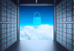 3d network server room and cloud outside as concept Stock Illustration